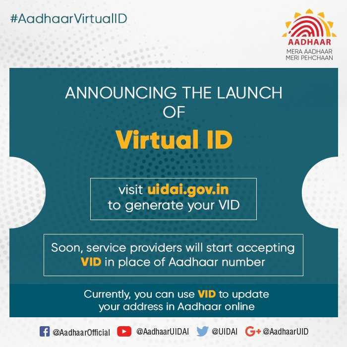 How many digits are there in Virtual ID for Aadhar?