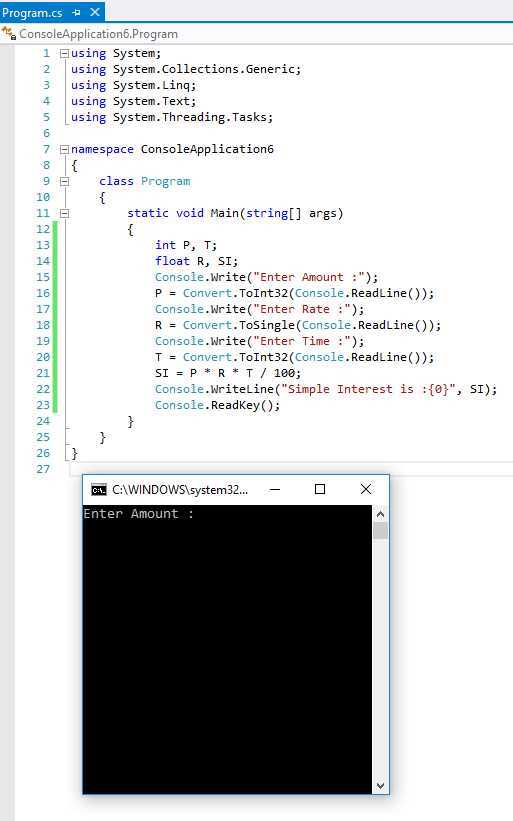 How can write a program in C# for Simple Interest ?