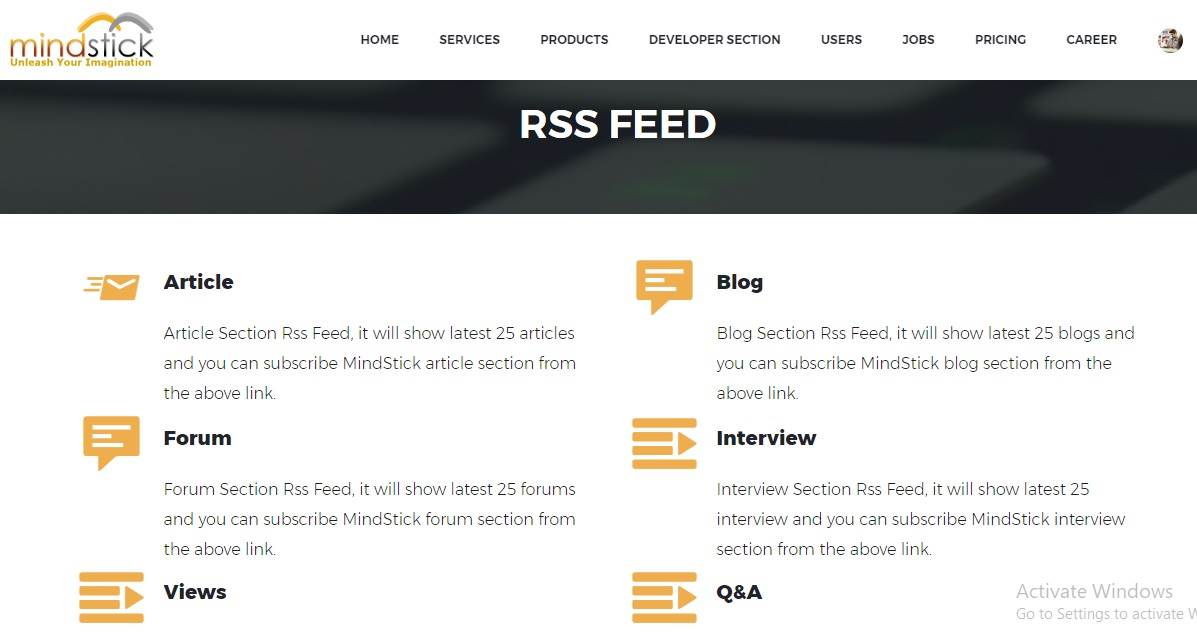 What do you understand by RSS Feed?
