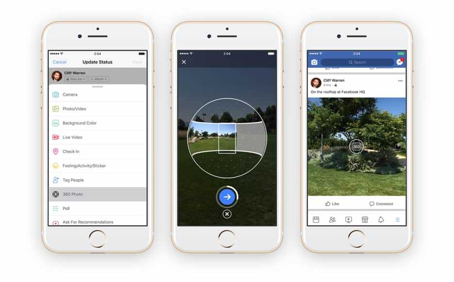 How can I post 360-degree photos on Facebook?