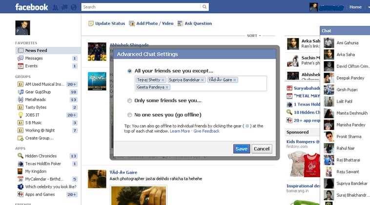How do I hide my online status in Facebook?