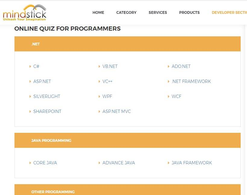 What are the other programming quiz available at MindStick?