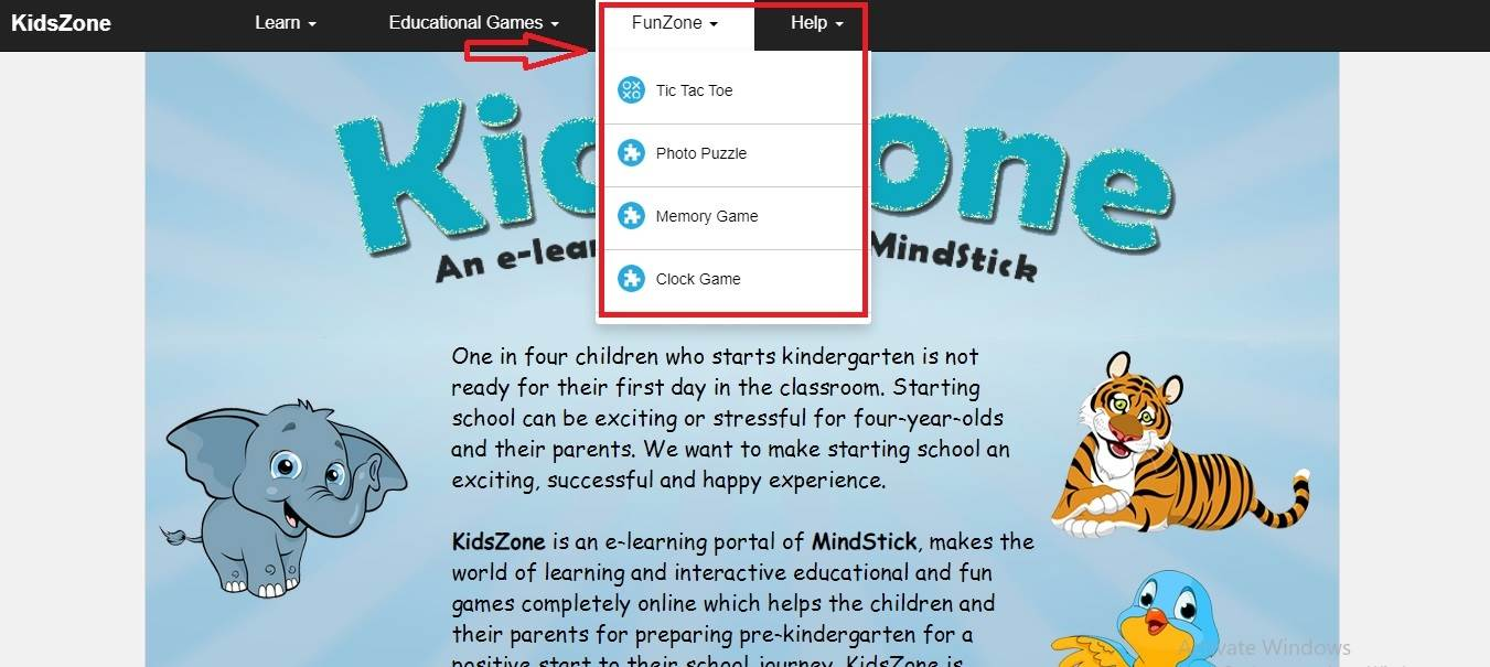 Is there any quiz on the KidsZone?