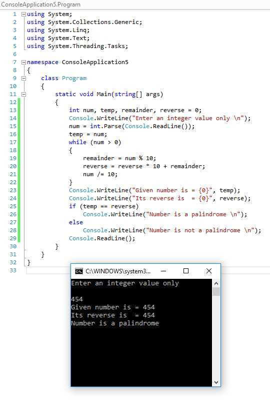 How can create a PalinDrome program in C# ?