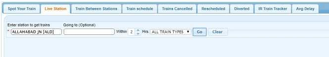 I want to travel from (A) to (B). How can I find the trains available between the stations?